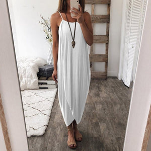 Women Boho Summer Loose Strappy Sleeveless Dress Elegant Holiday Casual Party Beach Dress Women Maxi Dresses Robe Femme