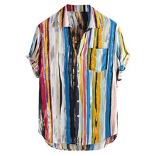 Load image into Gallery viewer, Summer Men Hawaiian Print Short Blouse Sports Beach Quick Dry Blouse Top Blouse Turn-down Collar Short Casual Shirts Daily Tops