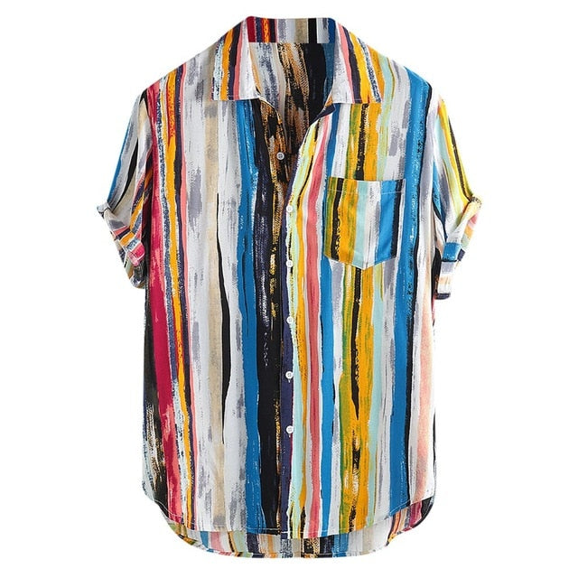 Summer Men Hawaiian Print Short Blouse Sports Beach Quick Dry Blouse Top Blouse Turn-down Collar Short Casual Shirts Daily Tops