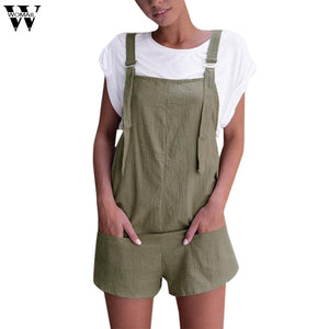 Womail bodysuit Women Summer Fashion Casual Elastic Waist Dungarees Linen Cotton Pockets Rompers Shorts Playsuit dropship M6