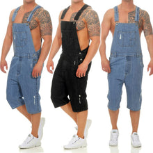 Load image into Gallery viewer, cargo pants men Overall Casual Jumpsuit Jeans Wash Broken Pocket Trousers Suspender Pants biker stretch jeans vaqueros pantalon