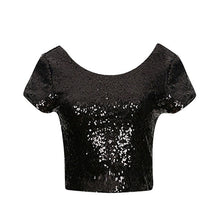 Load image into Gallery viewer, Copy of Newest Sexy Backless Crop Top Fashion Spring Summer Women O-neck Short Sleeve Sequin Short T shirt Female Slim Tops