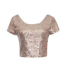 Load image into Gallery viewer, Newest Sexy Backless Crop Top Fashion Spring Summer Women O-neck Short Sleeve Sequin Short T shirt Female Slim Tops