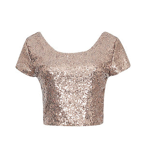 Newest Sexy Backless Crop Top Fashion Spring Summer Women O-neck Short Sleeve Sequin Short T shirt Female Slim Tops