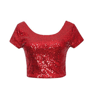 Copy of Newest Sexy Backless Crop Top Fashion Spring Summer Women O-neck Short Sleeve Sequin Short T shirt Female Slim Tops