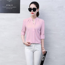 Load image into Gallery viewer, 2019 Summer Women Chiffon Blouse Shirts Ladies White Elegant Sexy V-neck Blouse Long Sleeve Shirt Female Office Shirt