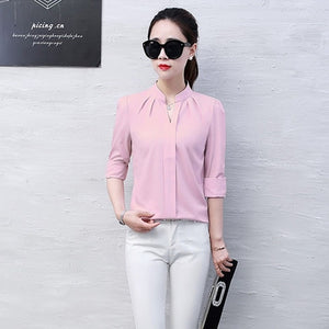 2019 Summer Women Chiffon Blouse Shirts Ladies White Elegant Sexy V-neck Blouse Long Sleeve Shirt Female Office Shirt