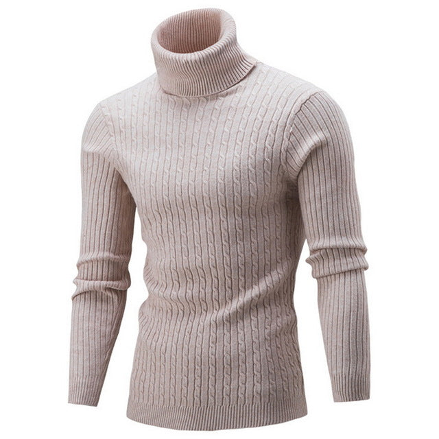 Laamei New Winter Warm Turtleneck Sweater Men Fashion Basic Knitted Sweaters Casual Slim Fit Pullover Male Double Collar