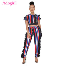 Load image into Gallery viewer, Adogirl Clearance Sale Colorful Stripe Ruffle Two Piece Set Rainbow Short Sleeve Crop Top Pencil Pants Tracksuit Leisure Suits