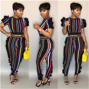 Adogirl Clearance Sale Colorful Stripe Ruffle Two Piece Set Rainbow Short Sleeve Crop Top Pencil Pants Tracksuit Leisure Suits