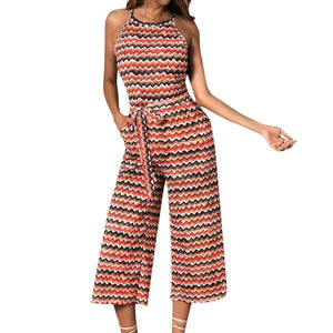 Womail bodysuit Women Summer Sleeveless Long Jumpsuit Multicolor Striped Jumpsuit loose Casual fashion High Quality 2019 A18