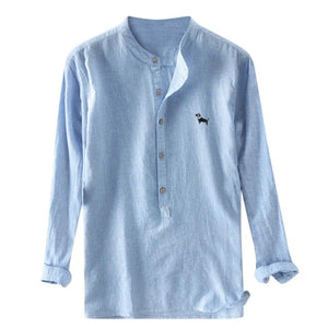 Mandarin Collar Linen Shirts Long Sleeve Slim Fit Traditional Chinese Casual Shirt Brand Summer Fashion Clothing Blue White