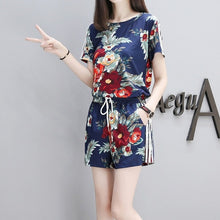 Load image into Gallery viewer, Summer Women Flower Printed Sets Short Sleeve Tops Drawstring Waist Shorts Suits Female Suit