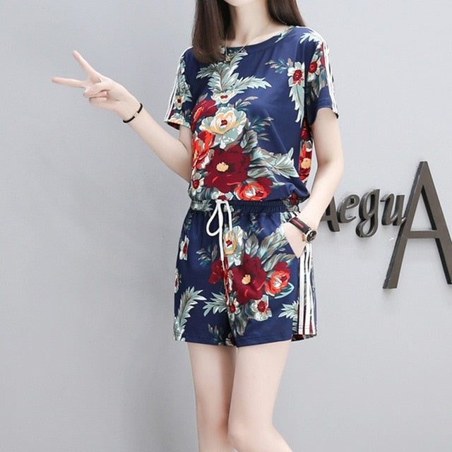 Summer Women Flower Printed Sets Short Sleeve Tops Drawstring Waist Shorts Suits Female Suit