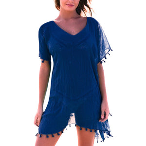 2019 Summer Women Boho Beach Dresses Solid Tassel Patchwork Holiday Chiffon Dress Smock beach cover up playa beach wear