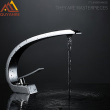 Load image into Gallery viewer, Quyanre Chrome Orange Basin Faucets Modern Bathroom Mixer Tap Brass Washbasin Faucet Single Handle Single Hole Elegant Crane Tap