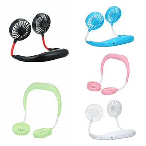 USB Rechargeable Wearable Portable Hand Free Neckband Fan  Personal Mini Neck Double Fans 3 Speed Adjustable for Ourdoor