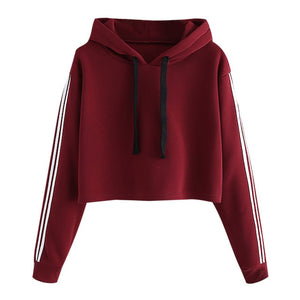 Hoodies Sweatshirt Women Ladies Striped Long Sleeve Pullovers Jumper Casual Solid Hooded Female Coat Poleron Mujer Moletom