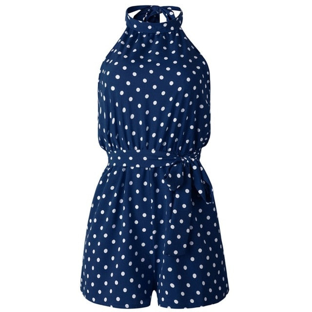 Women Polka Dot Belted Jumpsuit Playsuits Elegant Halter Backless Jumpsuit Rompers Summer Sleeveless Pocket Playsuits