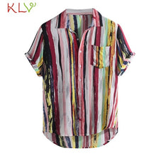Load image into Gallery viewer, Blouse Shirt Men Summer Rainbow Color Pocket Short Sleeve Retro Casual Shirt Off White Harajuku Top Homme Jogging Clothes 19May