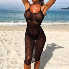 Load image into Gallery viewer, Lace Pullover Bikini Blouse Beach Cover Up Knitted  blouse with open straps and long beach skirt  tunique longue femme  10#