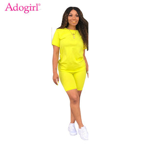 Adogirl Solid Casual Two Piece Set Women Tracksuit O Neck Short Sleeve T shirt Top + Shorts Fashion Sportswear Female Clothing