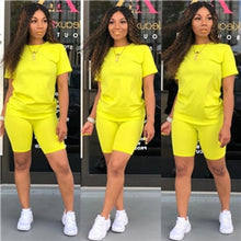 Load image into Gallery viewer, Adogirl Solid Casual Two Piece Set Women Tracksuit O Neck Short Sleeve T shirt Top + Shorts Fashion Sportswear Female Clothing