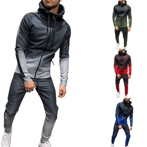 SHUJIN Zipper Tracksuit Men Set Sporting 2 Pieces Sweatsuit Men Clothes Printed Hooded Hoodies Jacket Pants Track Suits Male
