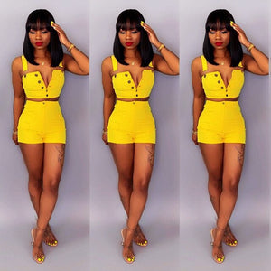 Sexy Women 2 Two Piece Set Summer Denim Shorts Set Sleeveless Jeans Crop Top + Hot Shorts Suit Yellow Denim Matching Set Outfit