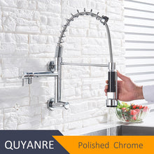 Load image into Gallery viewer, Wall Mounted Spring Kitchen Faucet Pull Down Sprayer Dual Spout Single Cold Water Mixer Sink Faucet 360 Rotation Kitchen Faucets