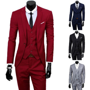 2019 High Quality Men Blazer Masculino Thin Suits Fashionable Clothes Slim Fit Three Pieces Suit Blazer (Jacket+Pants+Vest) Sets
