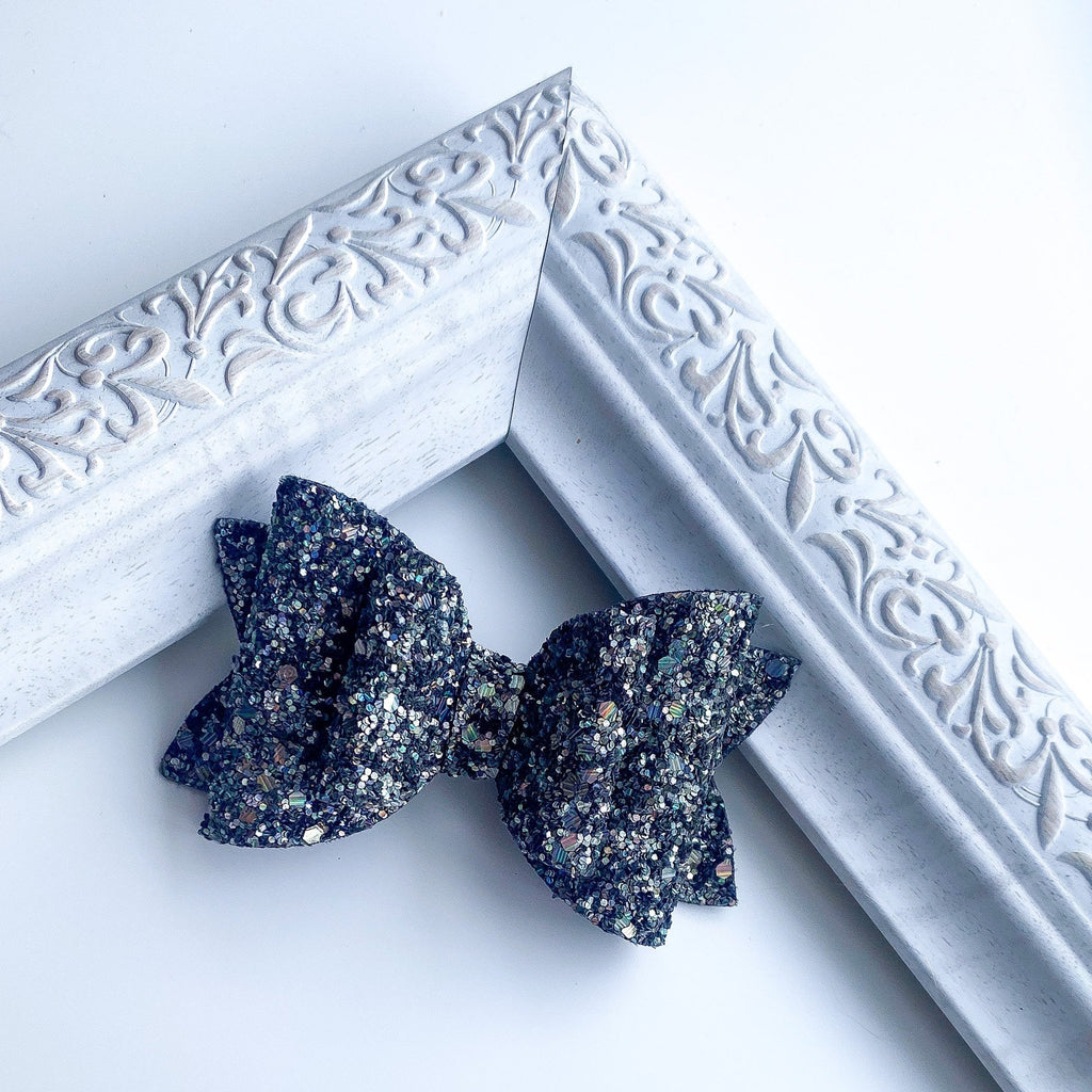black glitter hair bow