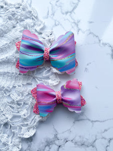 hair bow, unicorn color, glitter, girl accessories