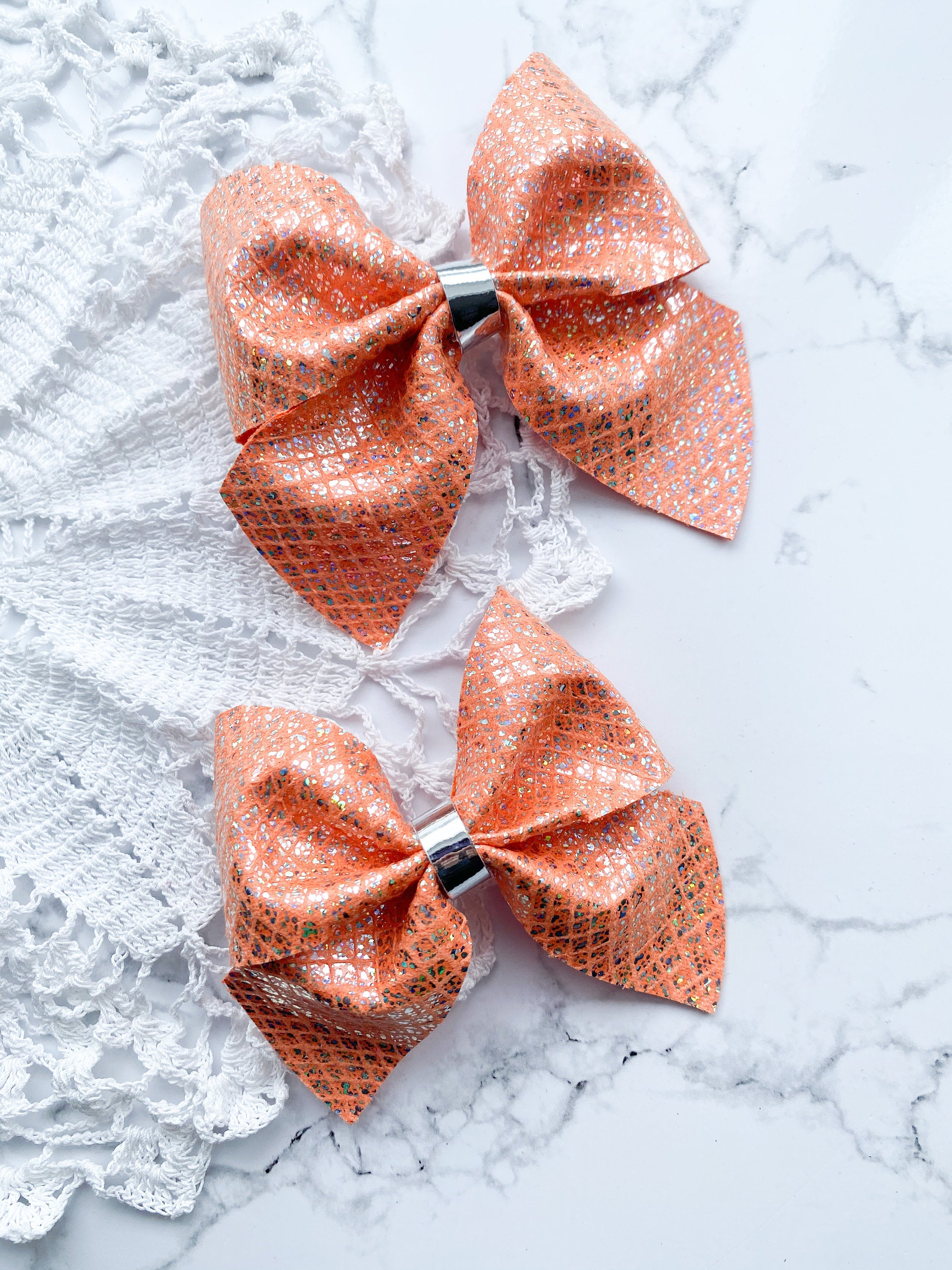 Tangerine Netted // Fir // Hairbow
