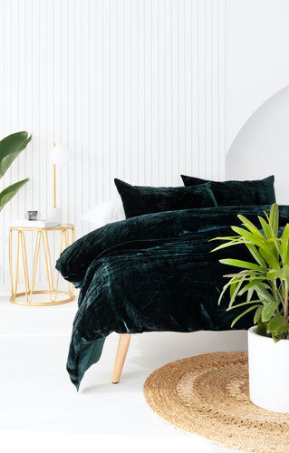 Velvet Dreams • Forest Green • Queen Duvet Cover & 2 x Pillowcases