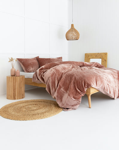 Velvet Dreams • Blush Pink • Queen Duvet Cover & 2 x Pillowcases