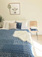 Load image into Gallery viewer, Padded Luxe • The Patchwork • Blue • Queen / King Bed Throw