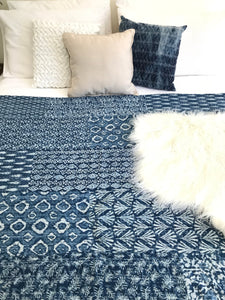 Padded Luxe • The Patchwork • Blue • Queen / King Bed Throw