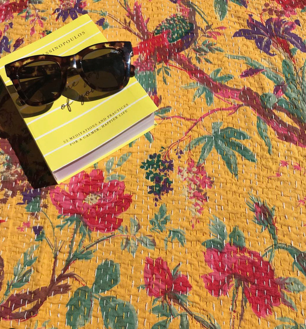 Padded Luxe • The Birdie • Mustard Yellow • Queen / King Kantha Quilt
