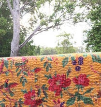 Load image into Gallery viewer, Padded Luxe • The Birdie • Mustard Yellow • Queen / King Kantha Quilt