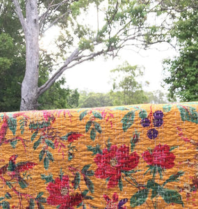 The Birdie • Mustard Yellow • Single / Double Kantha Throw