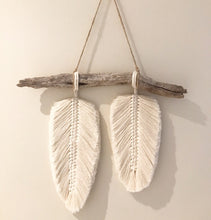 Load image into Gallery viewer, Double macrame Feather on Driftwood - Wall Hanging - Premuim Soft Cotton