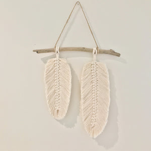 Double macrame Feather on Driftwood - Wall Hanging - Premuim Soft Cotton