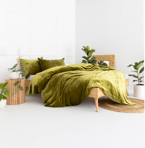 Velvet Dreams • Olive Green • Queen Duvet Cover & 2 x Pillowcases