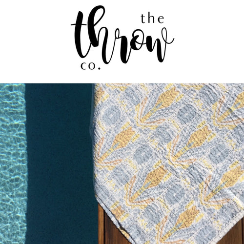 The Arrow • Grey / Yellow • Square Picnic Throw