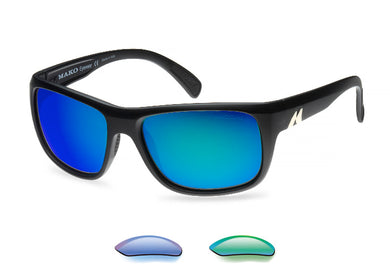 Mako Apex Polarized Sunglasses with Blue Mirror or Rose Green Lenses