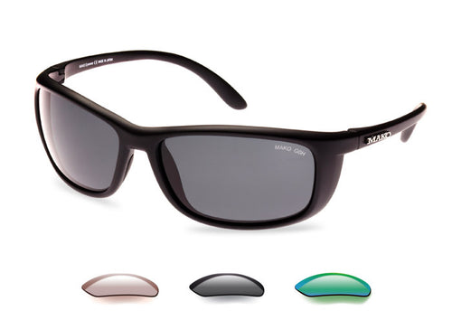 Mako Blade Polarized Sunglasses with Photochromic, Gray or Rose Green Lens