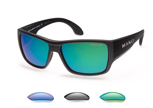 Mako Covert Polarized Sunglasses with Blue, Rose Green or Gray Lens