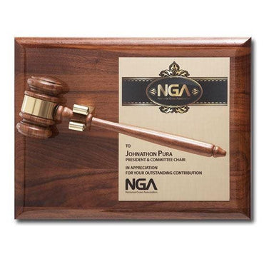 Removable Gavel Piano Finish Plaque