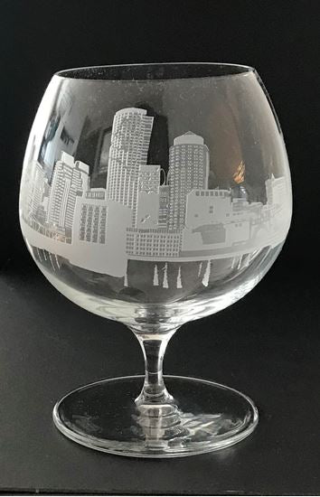 Boston Skyline Sand carved on Brandy Snifter (PAIR)